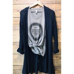 Old Navy Navy blue loose knit cotton cardigan